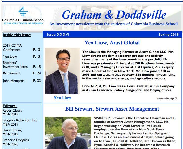 Graham & Doddsville Spring 2019 Newsletter   Stock Screener - The
